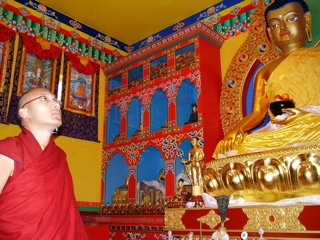 His Holiness Gyalwang Karmapa inside the Elightenment Stupa at KTC on May 19, 2008.